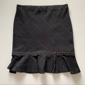 Express Black and White Pencil Skirt with Bow Trim